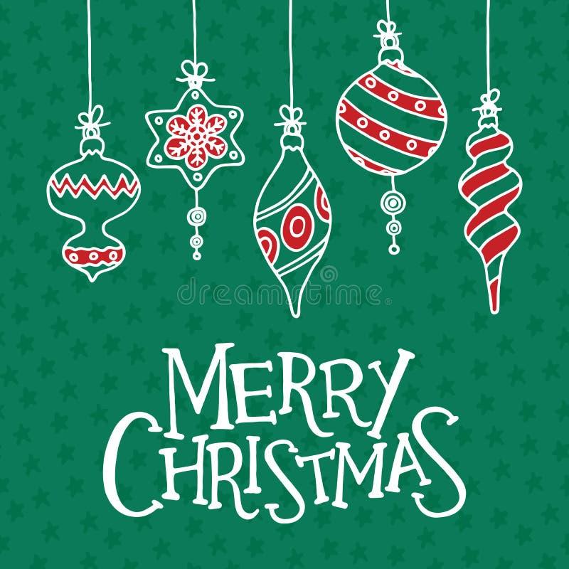 De vrolijke kaart van de Kerstmisgroet, affiche en banner stock illustratie