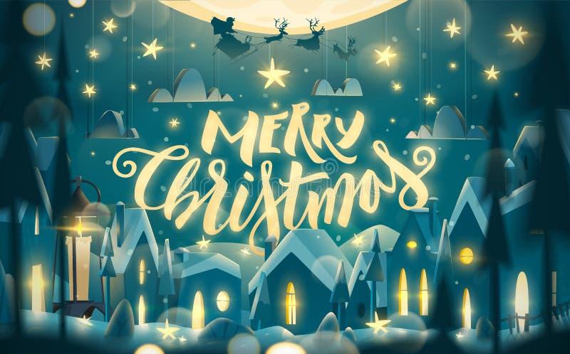 De vrolijke kaart van de Kerstmisgroet in beeldverhaalstijl vector illustratie