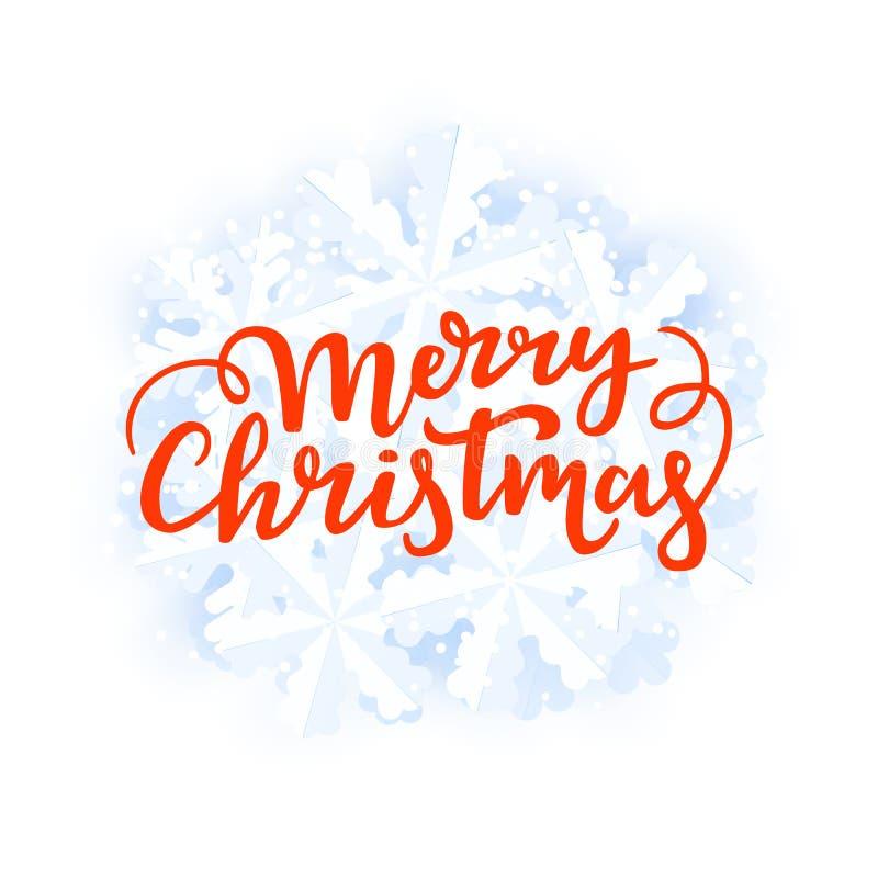 De vrolijke kaart van de Kerstmisgroet Feestelijke de winterachtergrond met het met de hand geschreven van letters voorzien en sn vector illustratie