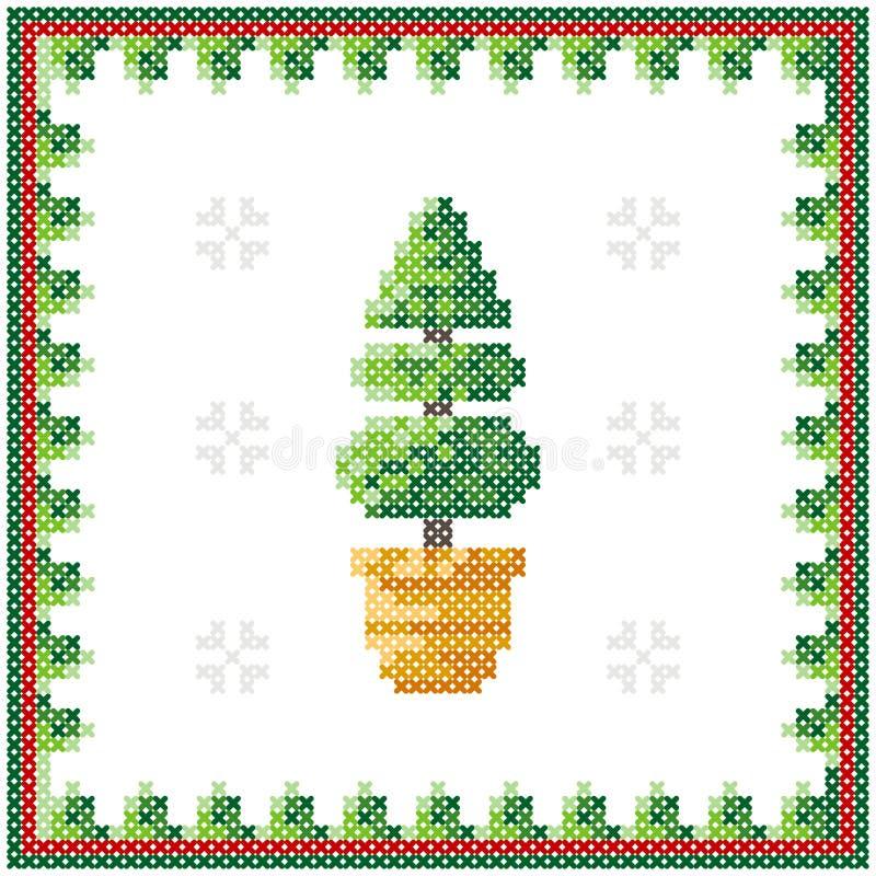 De vrolijke kaart van de Kerstmisgroet, Gelukkige Nieuwjaarillustratie Kerstboom zoals dwars-steek Het patroon van Kerstmis stock illustratie