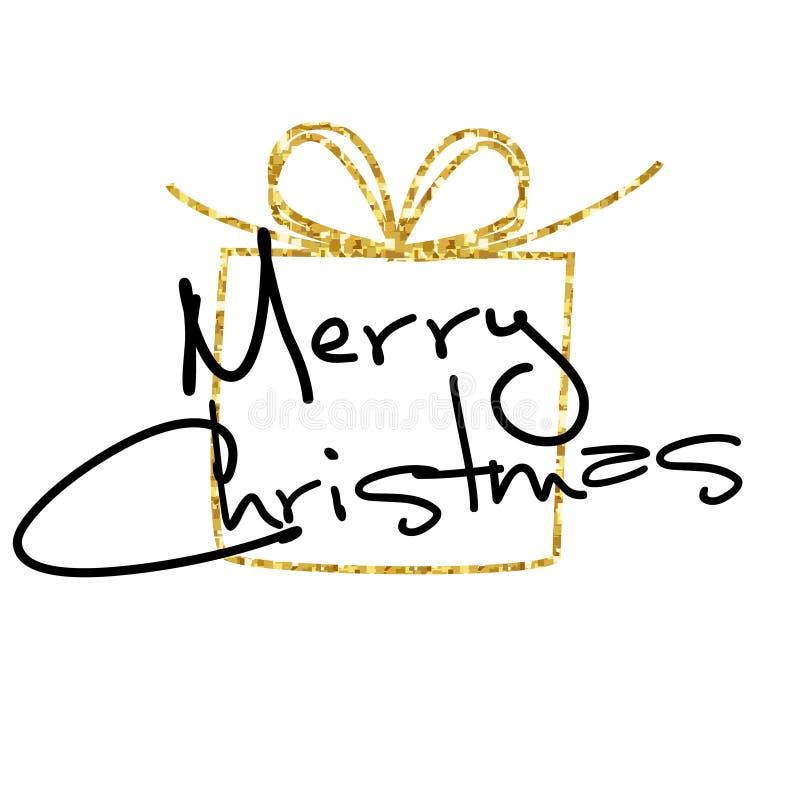 De vrolijke kaart van de Kerstmisgroet Gouden schitterende achtergrond met de Giftdoos van het origamikader vector illustratie