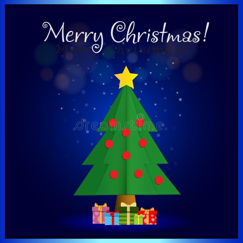 De vrolijke kaart van de Kerstmisgroet van leuke spar met stelt voor stock illustratie