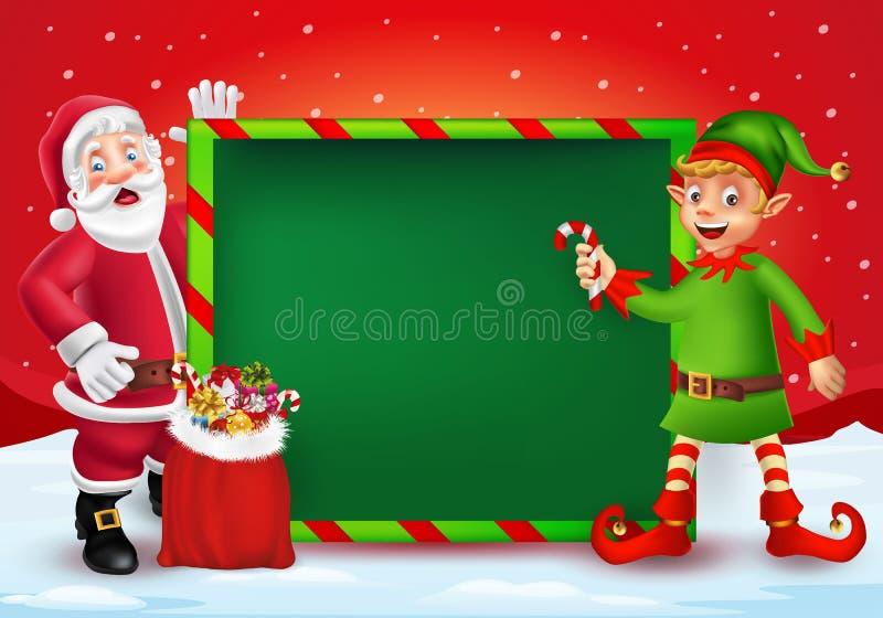De vrolijke kaart van de Kerstmisgroet met beeldverhaal Santa Claus en elf vector illustratie