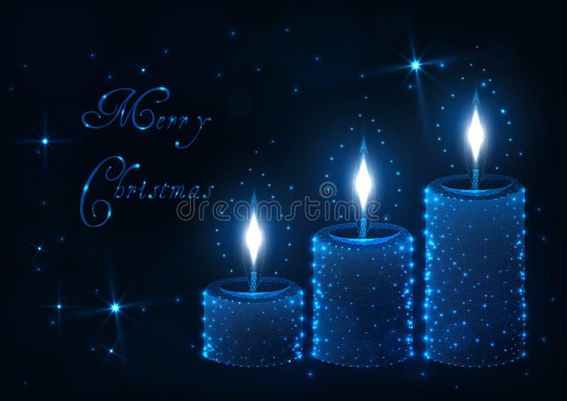De vrolijke kaart van de Kerstmisgroet met decoratieve aromakaars met vlammen, glanzende sterren en teksten vector illustratie
