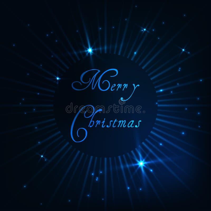 De vrolijke kaart van de Kerstmisgroet met gloeiende stralen, glanzende sterren en teksten op donkerblauwe achtergrond royalty-vrije illustratie