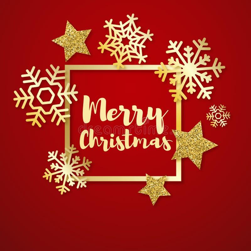 De vrolijke kaart van de Kerstmisgroet met gouden sneeuwvlokken en sterren Elegante vectoraffiche, vlieger Creatief ornament vector illustratie