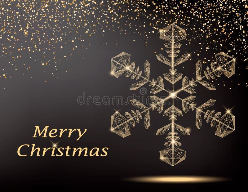 De vrolijke kaart van de Kerstmisgroet met gouden veelhoekige sneeuwvlok stock illustratie