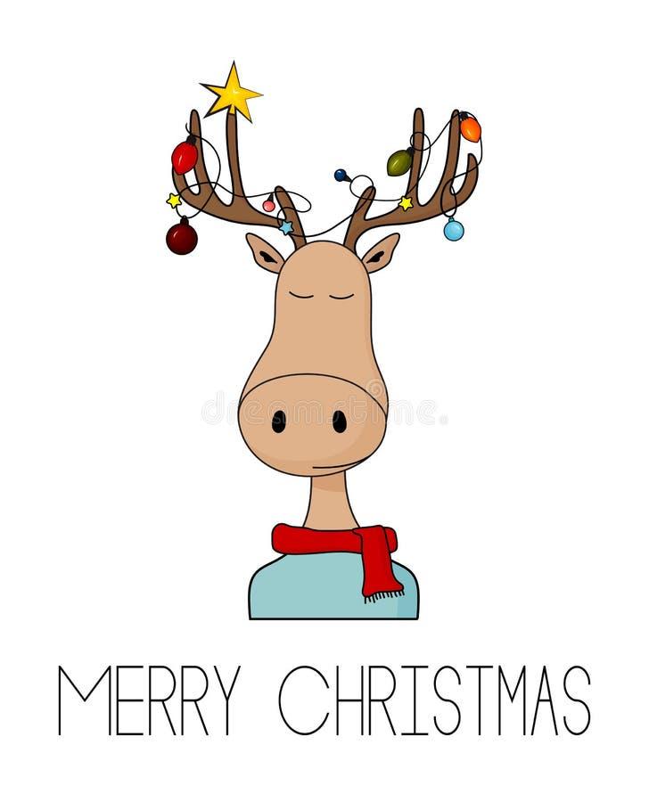 De vrolijke kaart van de Kerstmisgroet met herten en slingerlichten op hoornen Het koele eenvoudige art. van de beeldverhaalhulst royalty-vrije illustratie