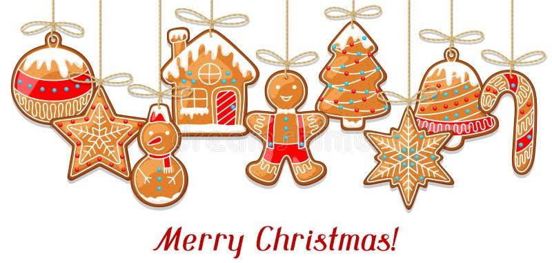De vrolijke kaart van de Kerstmisgroet met het hangen van peperkoek vector illustratie