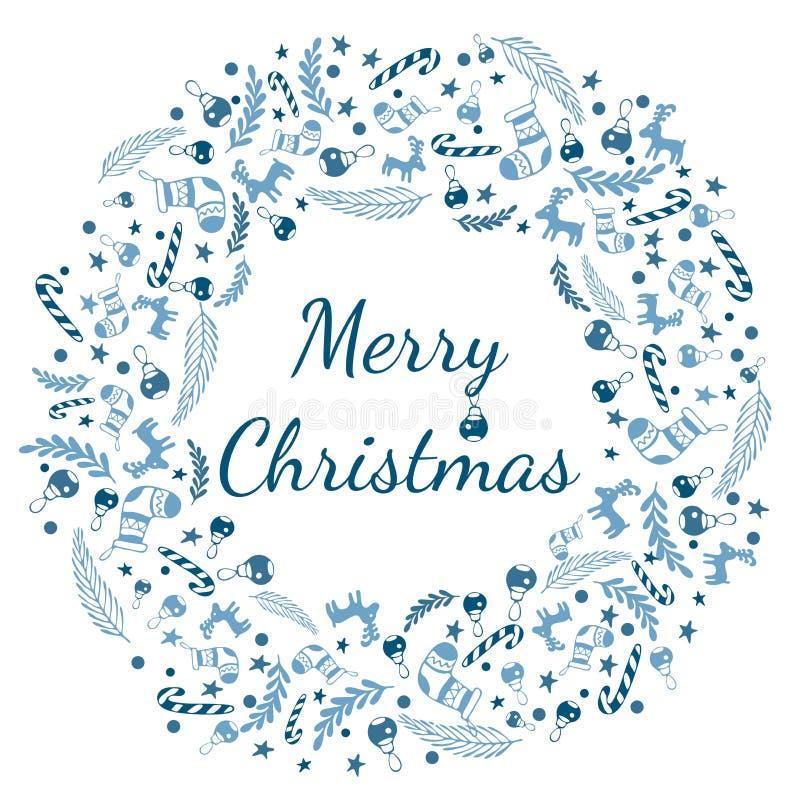 De vrolijke kaart van de Kerstmisgroet met kroon, Uitstekende Achtergrond met Typografie en Elementen - sok, sparren, spar, lolly royalty-vrije illustratie