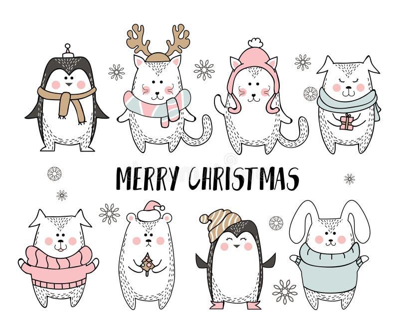 De vrolijke kaart van de Kerstmisgroet met leuk dier in Skandinavische stijl Leuke die de winterdieren op witte achtergrond worde stock illustratie