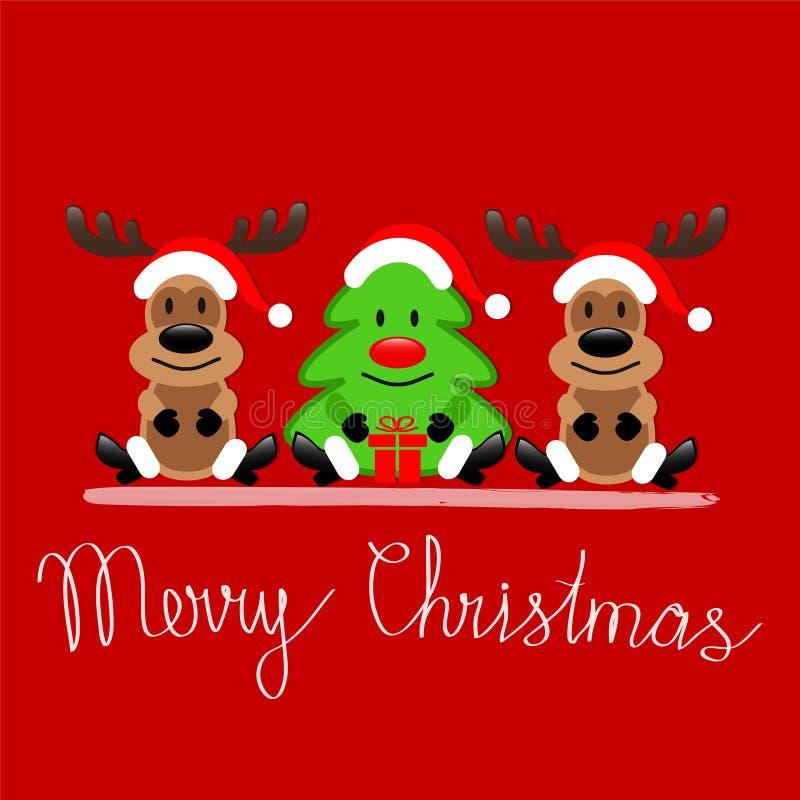 De vrolijke kaart van de Kerstmisgroet met Rendier Rudolph en Christma royalty-vrije illustratie