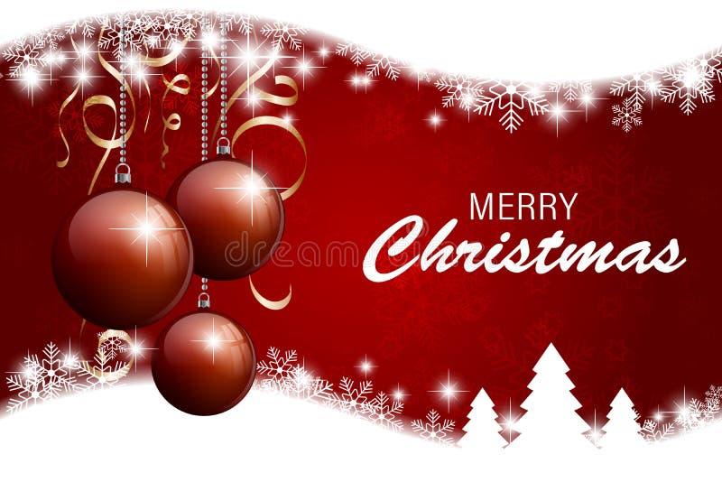 De vrolijke kaart van de Kerstmisgroet met rode sneeuwvlokkenachtergrond Vector illustratie royalty-vrije illustratie