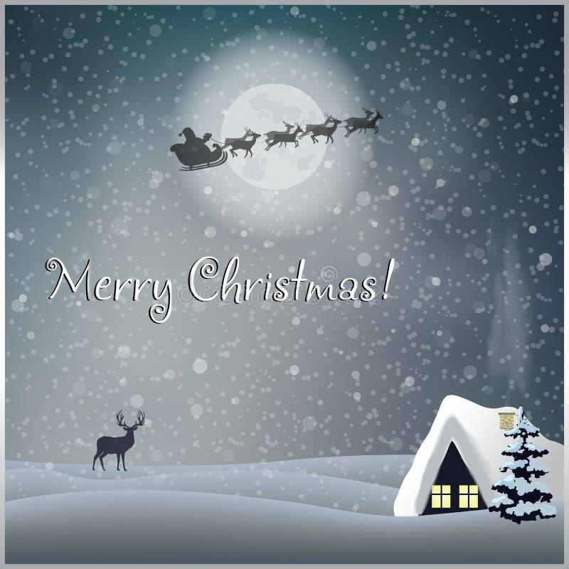 De vrolijke kaart van de Kerstmisgroet met weinig huis, sparrenherten en de berijdende slee van de Kerstman stock illustratie