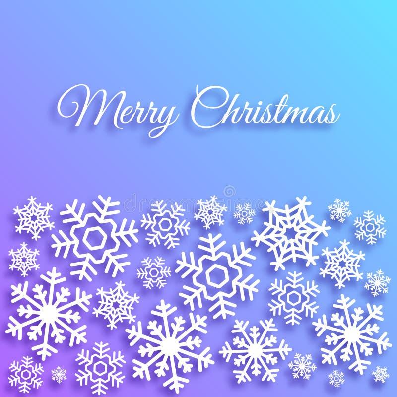 De vrolijke kaart van de Kerstmisgroet met witte sneeuwvlokken Kerstmis vectormalplaatje als achtergrond Elegante affiche, creati stock illustratie