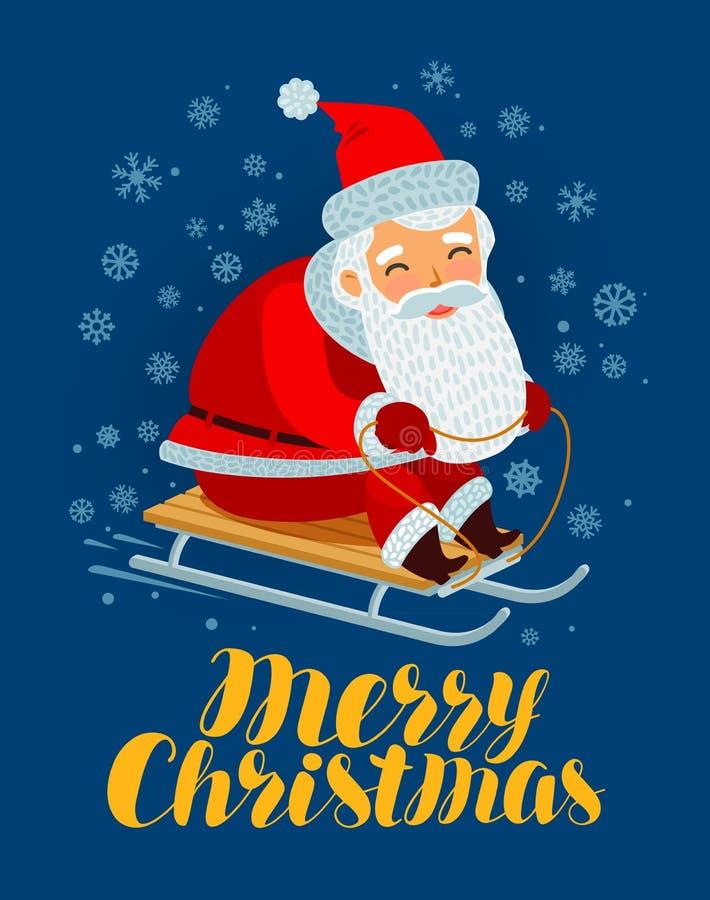 De vrolijke kaart van de Kerstmisgroet Santa Claus berijdt een slee De vectorillustratie van het beeldverhaal stock illustratie
