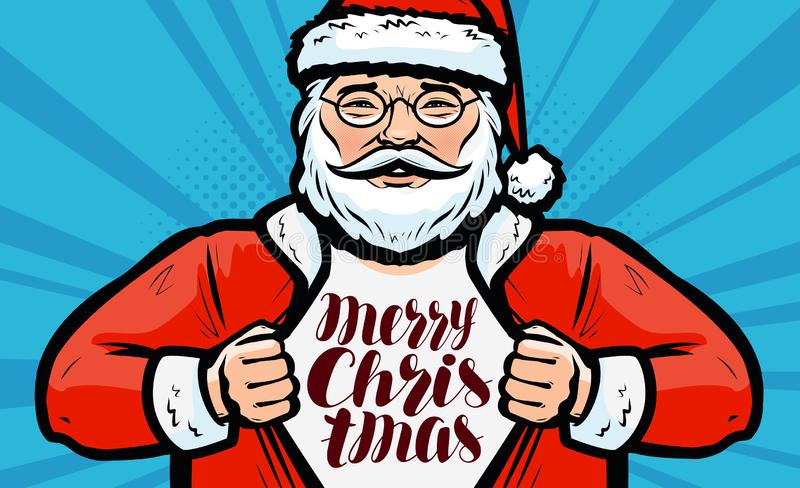 De vrolijke kaart van de Kerstmisgroet Santa Claus met glazen, vector vector illustratie