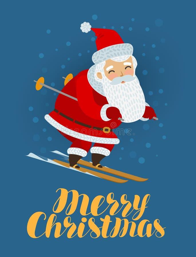 De vrolijke kaart van de Kerstmisgroet Santa Claus ski?t De vectorillustratie van het beeldverhaal vector illustratie