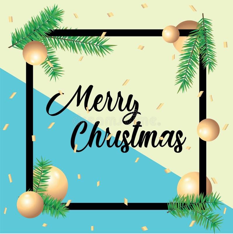 De vrolijke kaart van de Kerstmisgroet in vierkante kaders en groene nette takken De groet van de malplaatjeprentbriefkaar met Vr stock afbeeldingen