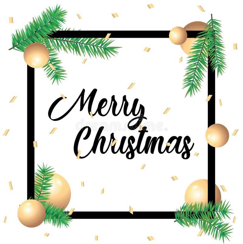 De vrolijke kaart van de Kerstmisgroet in vierkante kaders en groene nette takken op witte achtergrond De Groet van de malplaatje stock foto's