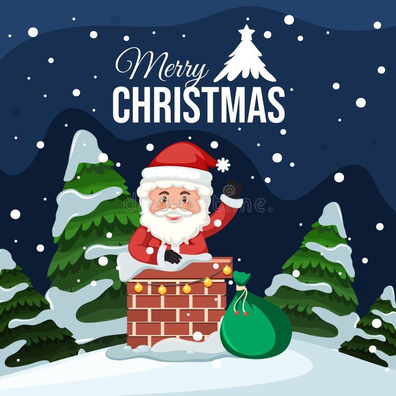 De vrolijke kaart van de Kerstmiskerstman vector illustratie