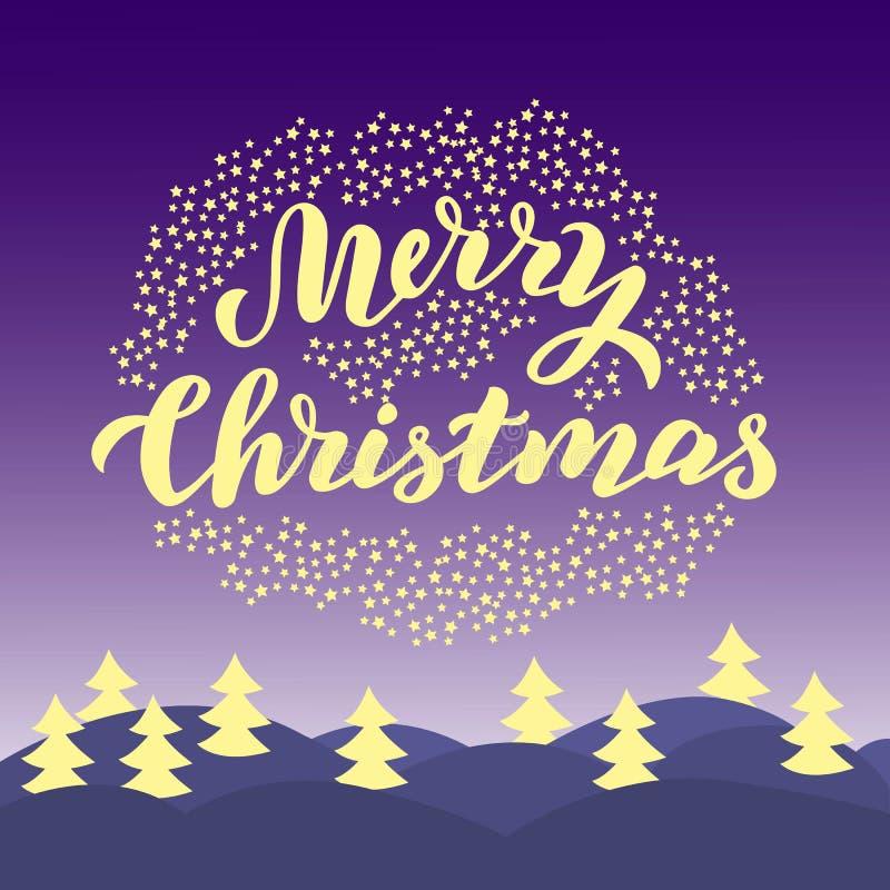 De vrolijke kaart van de Kerstmistypografie Magische nachtsc?ne In van letters voorziende groettekst Kerstmisprentbriefkaar, gift royalty-vrije illustratie