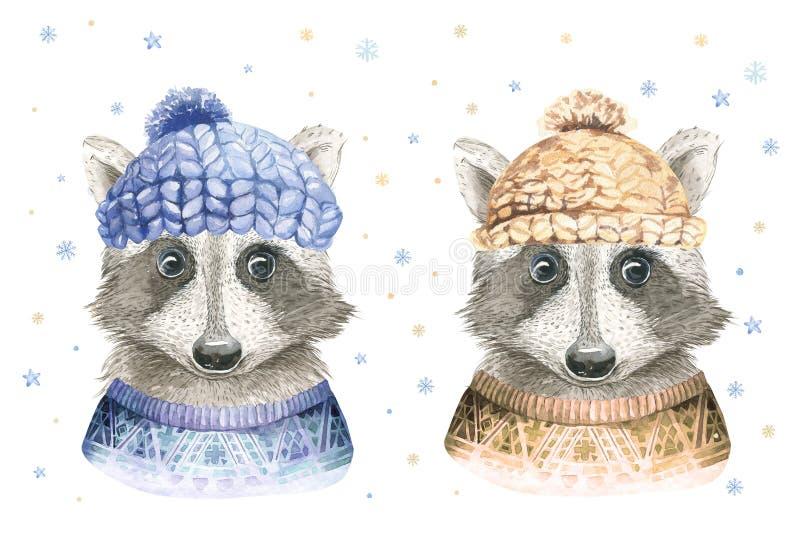 De vrolijke kaart van de Kerstmiswaterverf met wasbeer en baby deerfloral elementen Gelukkige Nieuwjaar fawn van letters voorzien stock illustratie