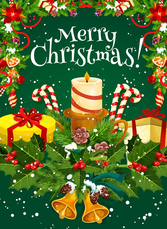 De vrolijke kaart van de de wensgroet van de Kerstmis vectorvakantie stock illustratie