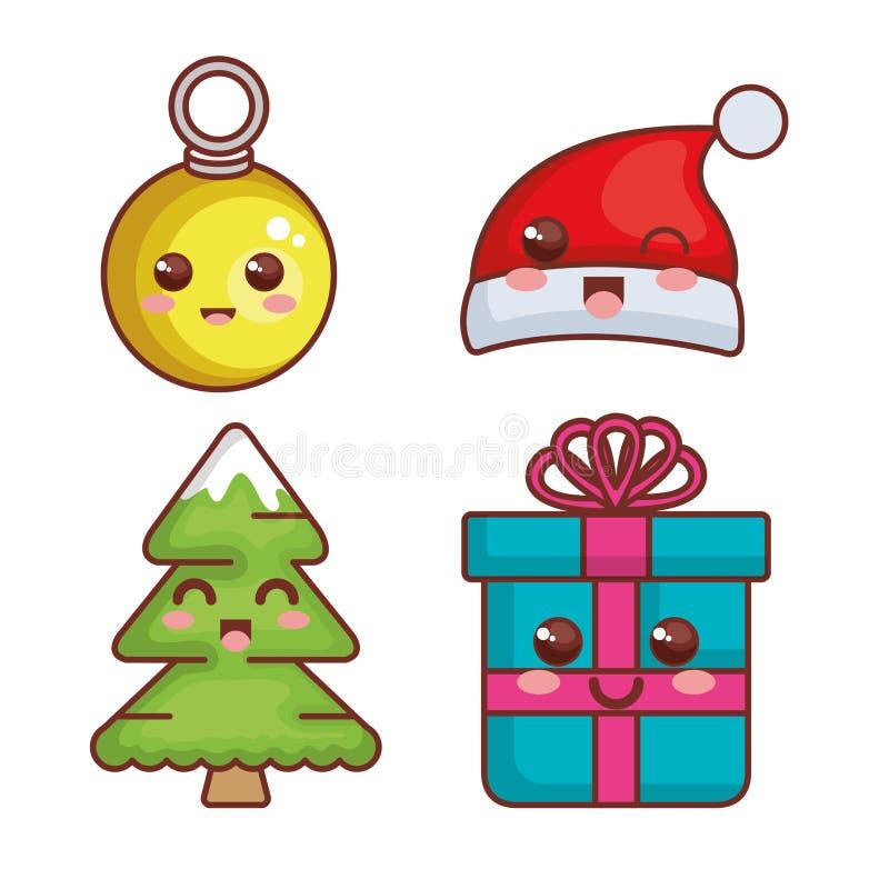 de vrolijke karakters van Kerstmiskawaii royalty-vrije illustratie
