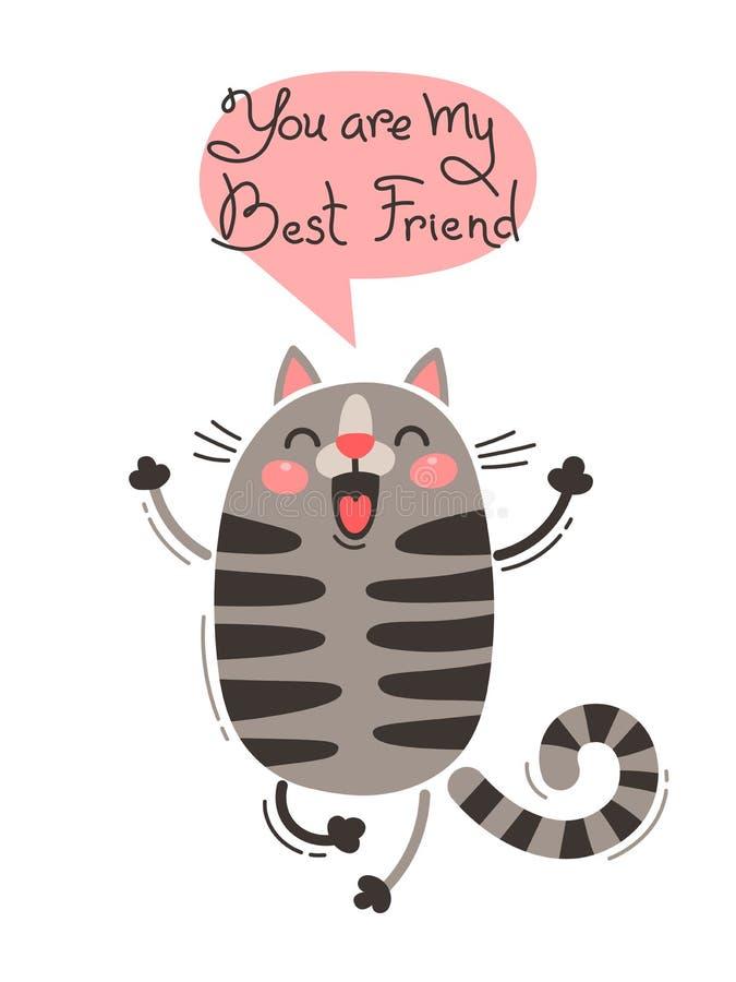 De vrolijke kat gilt u mijn Beste Vriend bent Vectorillustratie in beeldverhaalstijl royalty-vrije illustratie