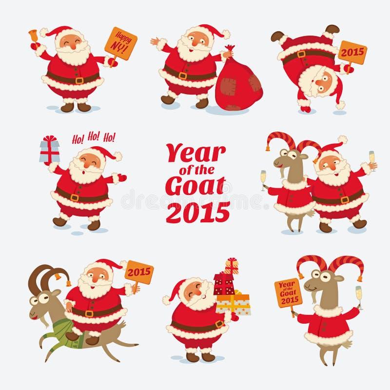 De vrolijke Kerstman Jaar van de Geit 2015 royalty-vrije illustratie