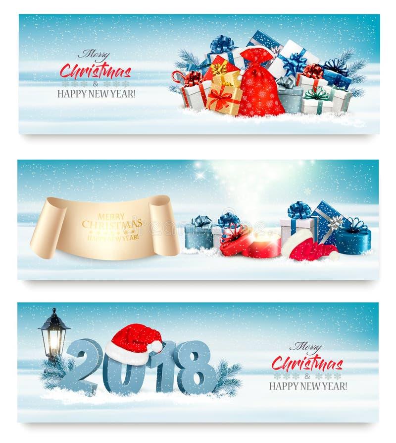 De vrolijke Kerstmisbanners met magische doos en stelt voor royalty-vrije illustratie