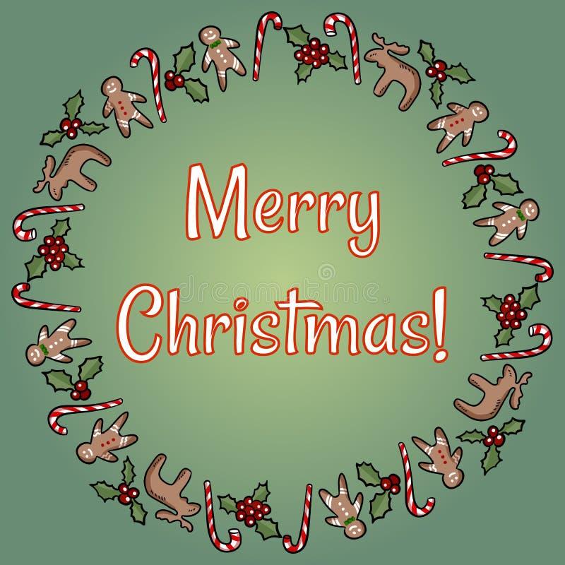 De vrolijke Kerstmishulst en kroon van suikergoedgroeten stock illustratie
