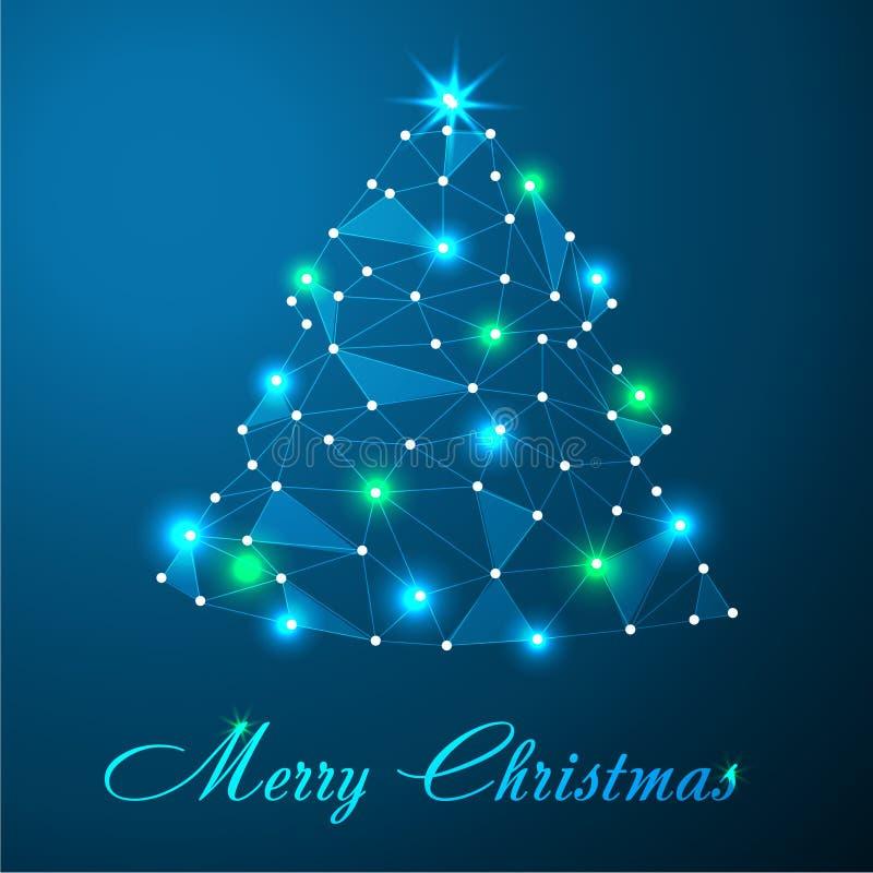 De vrolijke Kerstmiskaart met abstracte Kerstmisboom maakte van lichte lijnen en stippelt lage polykunst op blauwe achtergrond vector illustratie