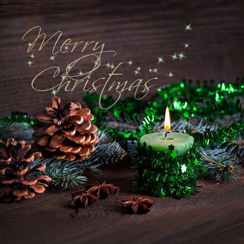 De vrolijke Kerstmiskaart met kan royalty-vrije stock foto's