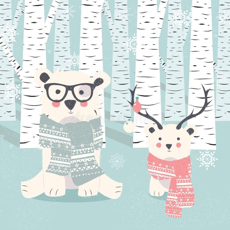 De vrolijke Kerstmisprentbriefkaar met polair wit twee draagt in bos royalty-vrije illustratie