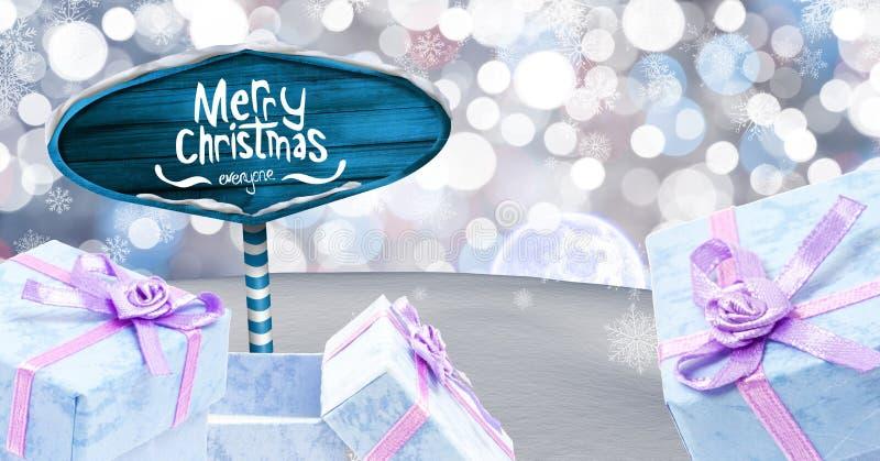 De vrolijke de Kerstmistekst en giften met Houten voorzien in het landschap van de Kerstmiswinter van wegwijzers royalty-vrije illustratie