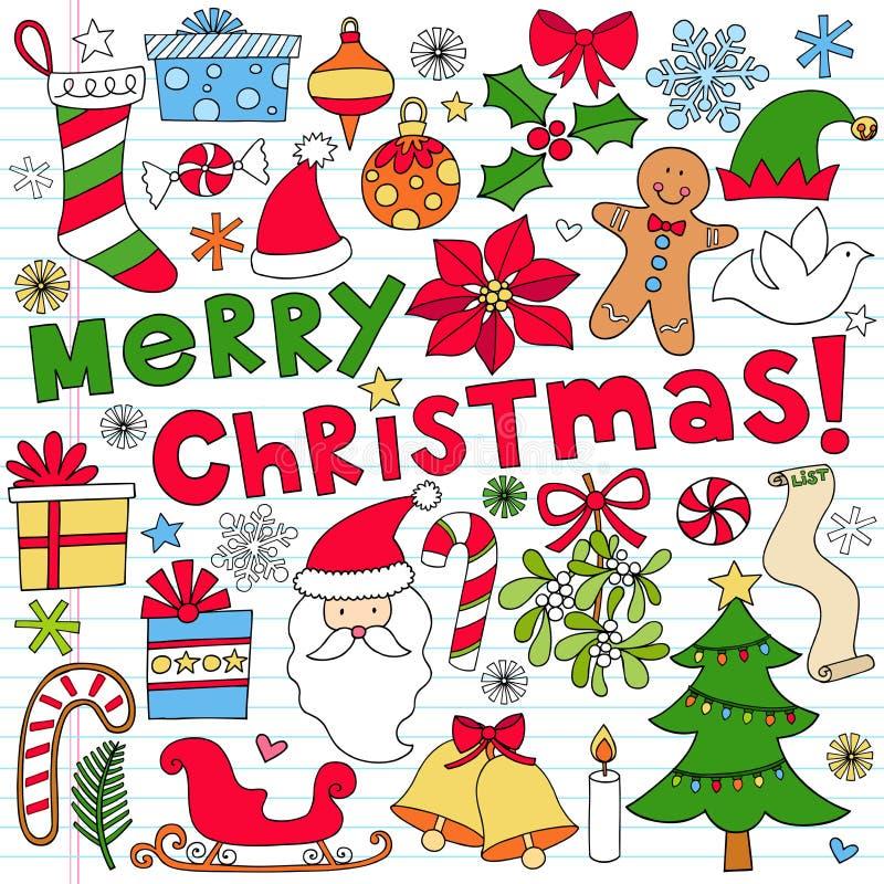 De vrolijke Krabbels van het Notitieboekje van Kerstmis stock illustratie
