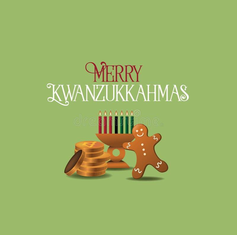 De vrolijke Kwanzukkahmas-kaart combineert Kwanzaa, Chanoeka stock illustratie