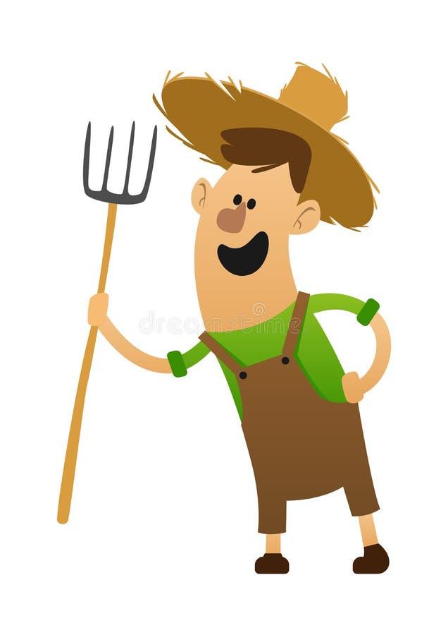 De vrolijke landbouwer van het beeldverhaalkarakter met een hooivork vector illustratie