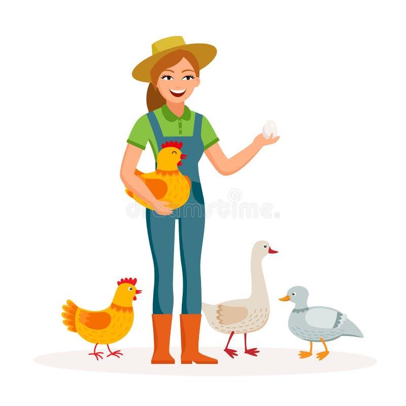 De vrolijke meisjeslandbouwer houdt een ei en een leuke kip in de karakters van het handenbeeldverhaal in vlak die ontwerp op wit royalty-vrije illustratie