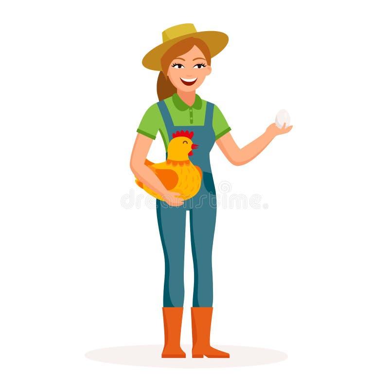 De vrolijke meisjeslandbouwer houdt een ei en een leuke kip in de karakters van het handenbeeldverhaal in vlak die ontwerp op wit stock illustratie