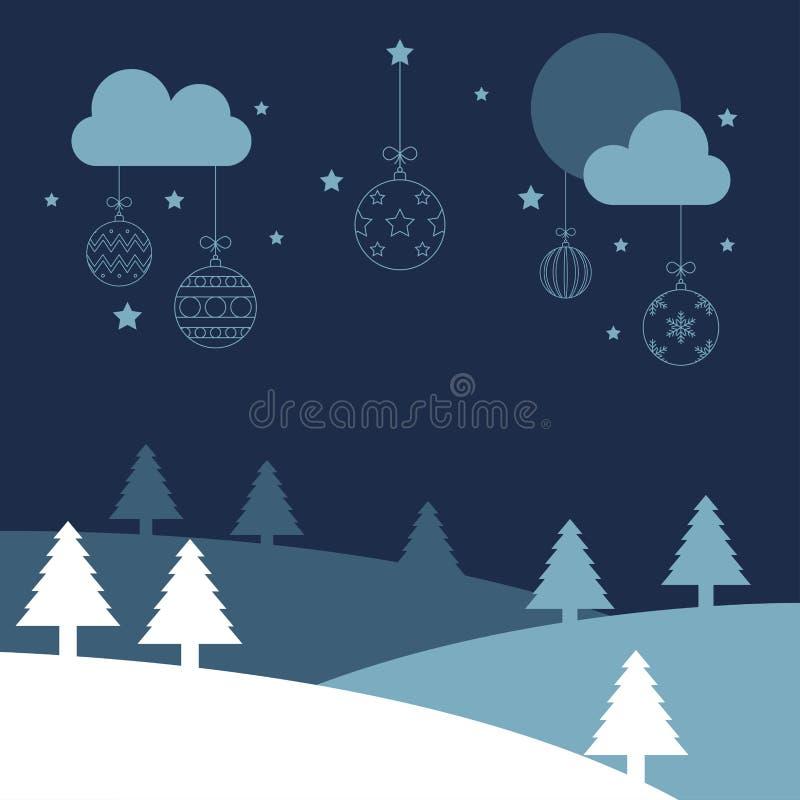 De vrolijke nacht van de Kerstmisbal in het land vector illustratie
