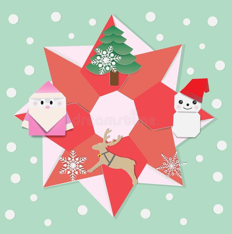 De vrolijke origami van de Kerstmiskroon royalty-vrije illustratie