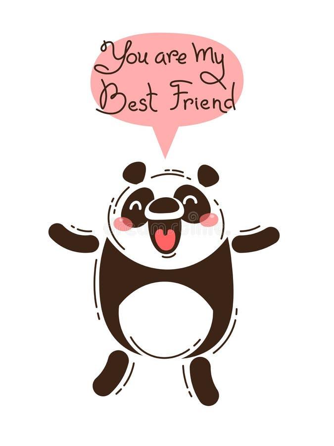 De vrolijke panda gilt u mijn Beste Vriend bent Vectorillustratie in beeldverhaalstijl vector illustratie