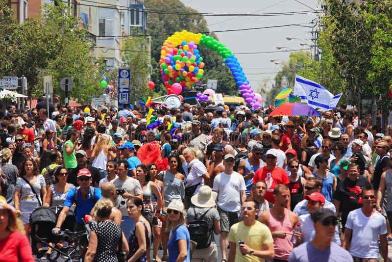 De vrolijke Parade van de Trots in Tel Aviv, Israël. stock foto