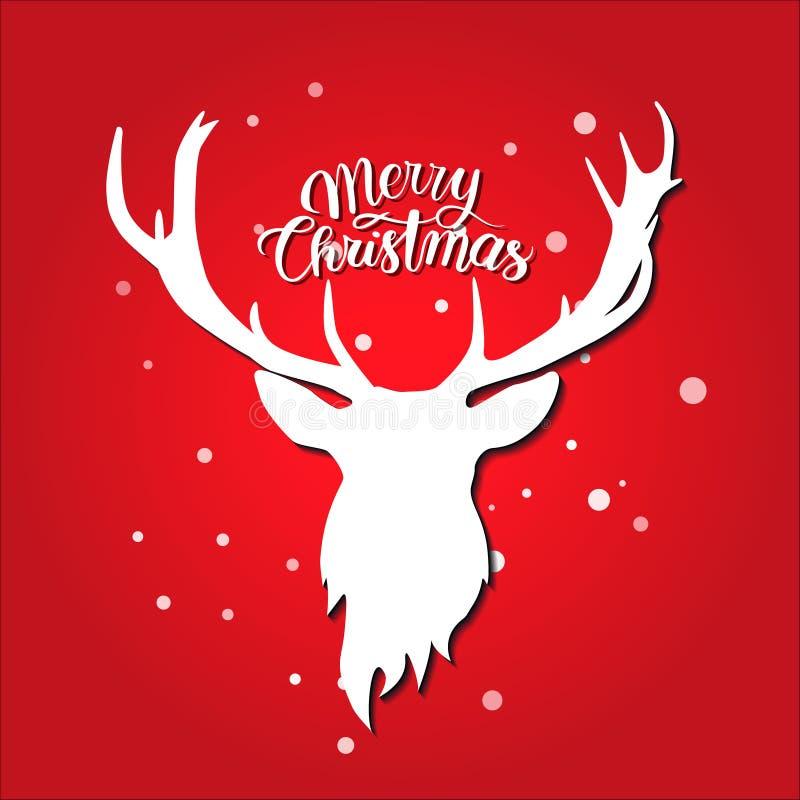 De vrolijke prentbriefkaar van Kerstmis Wit hertensilhouet op rode achtergrond sneeuw stock illustratie