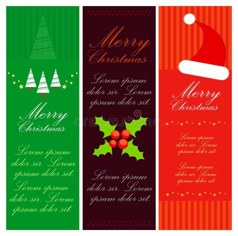 De vrolijke reeks van de Kerstmisbanner stock illustratie