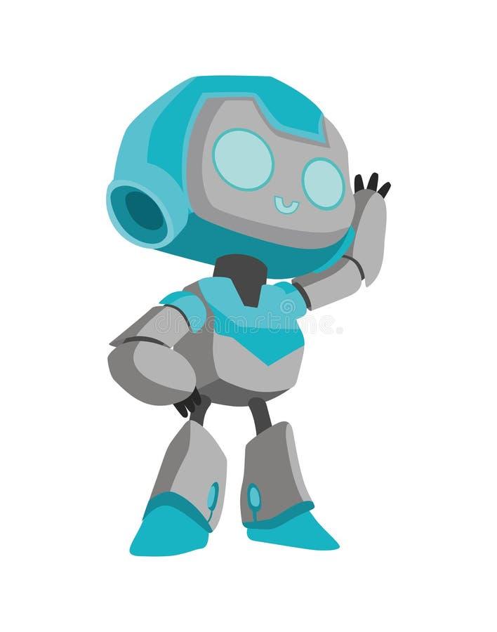 De vrolijke robot heet welkom vector illustratie
