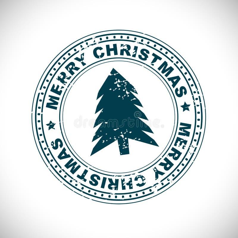 De vrolijke rubberzegel van Kerstmis royalty-vrije illustratie